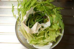 野菜は流水でしっかり洗ったあと、氷入りの冷水でシャキッとさせ、しっかり水気をきり、食べやすい大きさに切る。